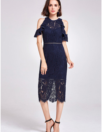 Custom Off-the-shoulder Knee Length Lace Cocktail/ Holiday Dress