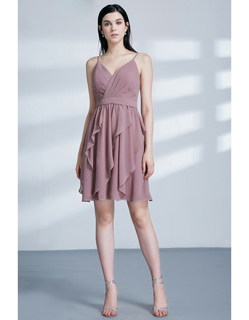 2019 New Style Spaghetti Straps Short Chiffon Cocktail/ Holiday Dress