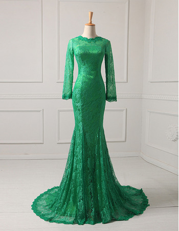 Affordable Mermaid Floor Length Lace Evening Dress with Long Sleeves
