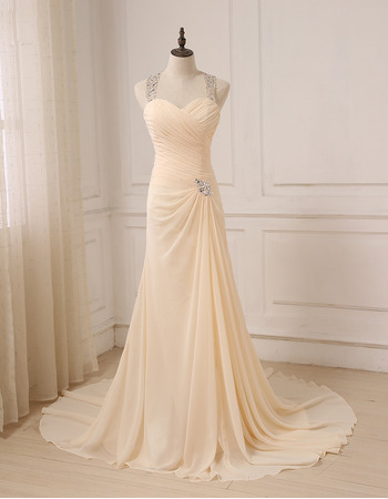 Discount Sweetheart Floor Length Chiffon Evening Dress with Straps