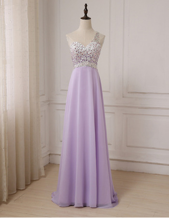 Elegant One Shoulder Floor Length Chiffon Evening/ Prom Dress