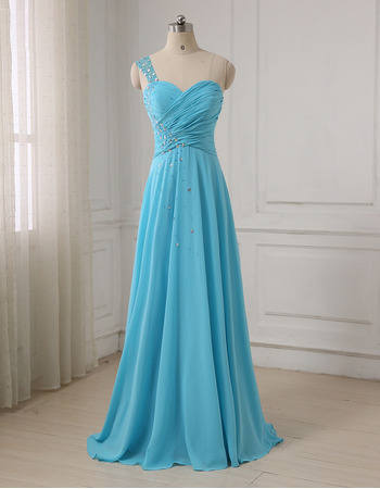 Custom One Shoulder Floor Length Chiffon Evening/ Prom Dress