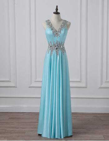 2019 New Style V-Neck Floor Length Satin Evening/ Prom/ Formal Dress