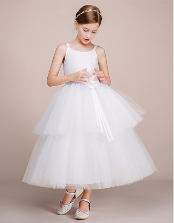 Amazing Ball Gown Sleeveless Tea Length Flower Girl Dress