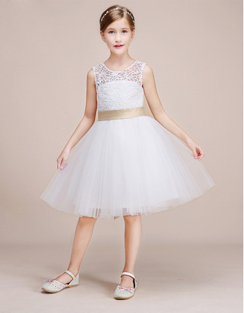 Girls Pretty Knee Length Lace Tulle Flower Girl Dress with Sashes