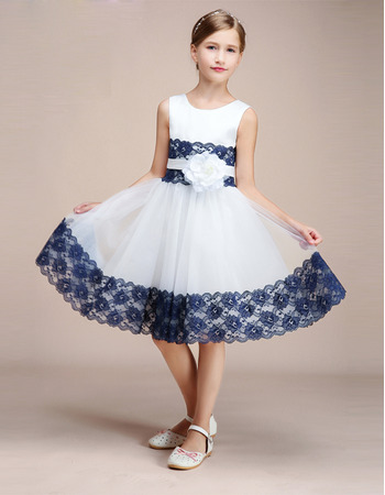 2019 New Style Knee Length Flower Girl Dress with Lace Trim