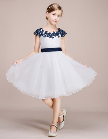 Adorable Knee Length Flower Girl Dress with Embroidery and Sash