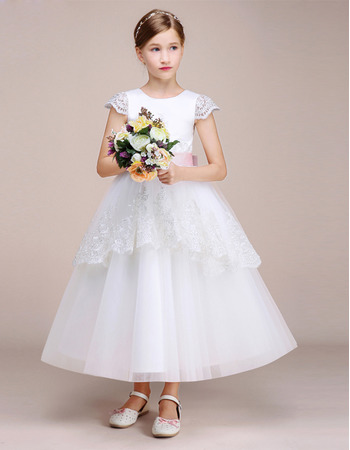 Affordable Tea Length Cap Sleeves Flower Girl Dress with Belts