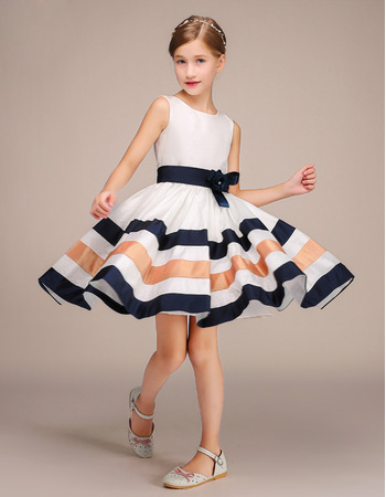 Stunning Knee Length Flower Girl Dress with Belts and Stripes