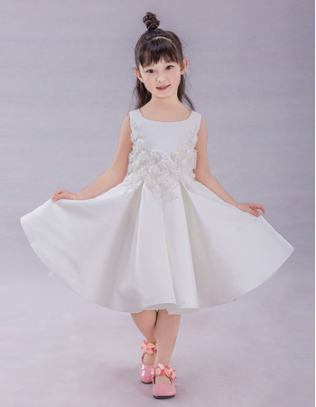2019 Little Girls A-Line Knee Length Satin Applique Flower Girl Dress