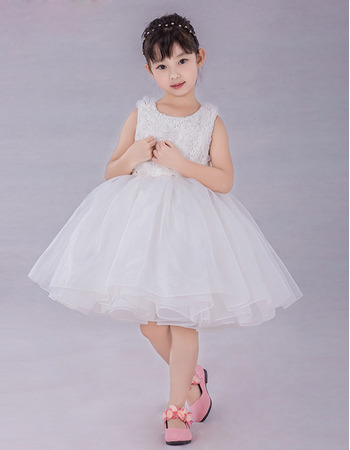 Girls Cute Ball Gown Knee Length Organza Embroidery Flower Girl Dress