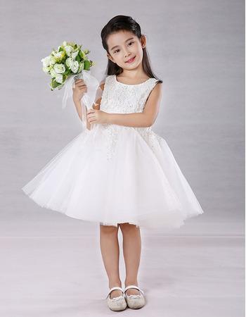Little Girls Cute A-Line Knee Length Embroidery Flower Girl Dress