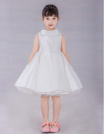 Little Girls Adorable A-Line Lapel Knee Length Satin Flower Girl Dress