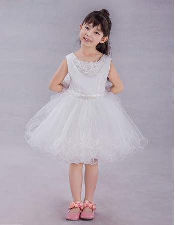 2019 New Style A-Line Knee Length Satin Tulle Flower Girl Dress