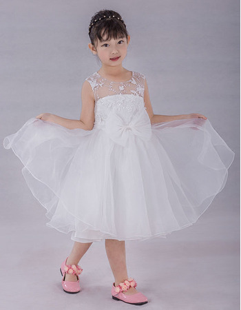 Girls Custom Ball Gown Knee Length Organza Flower Girl/ Communion Dress