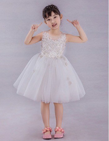 Little Girls Cute Ball Gown Knee Length Applique Flower Girl Dress