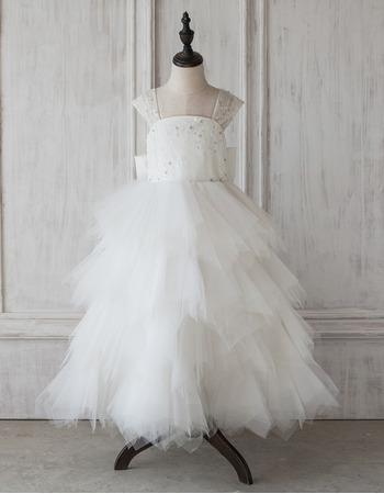 Amazing A-Line Floor Length Ruffle Skirt Flower Girl Dress