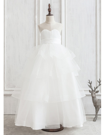2019 New Style Ball Gown Floor Length Organza Flower Girl Dress