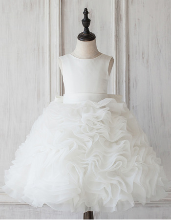 Pretty Ball Gown Knee Length Ruffle Skirt Flower Girl Dress