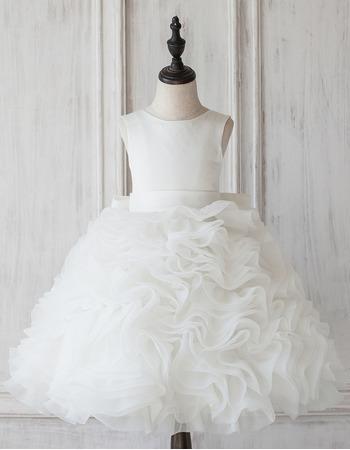 Custom Ball Gown Knee Length Ruffle Skirt Flower Girl Dress