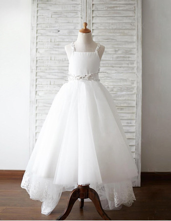 Pretty Straps Floor Length High-Low Organza Flower Girl Dress