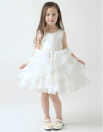 Little Girls Cute A-Line Knee Length Short Layered Skirt Flower Girl Dress