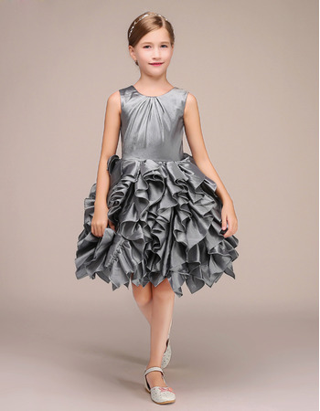 Custom Sleeveless Short Taffeta Ruffle Skirt Flower Girl Dress