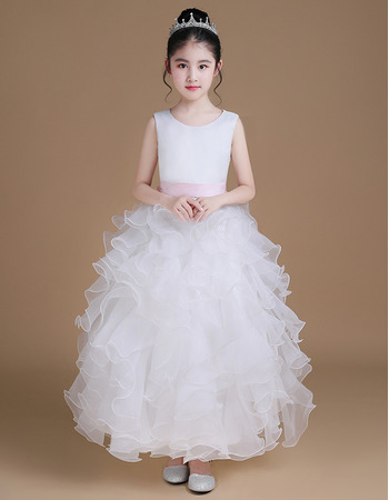 Adorable Ankle Length Ruffle Skirt Flower Girl Dress with Sashes