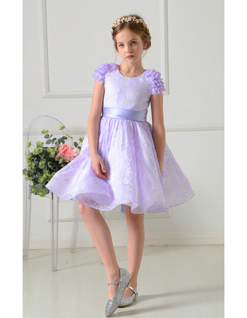 Custom A-Line Mini/ Short Lace Flower Girl Dress with Sashes