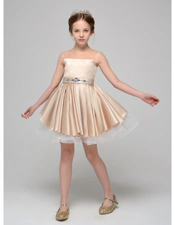 Inexpensive A-Line Mini/ Short Satin Tulle Flower Girl Dress