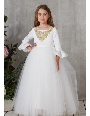 Stunning Floor Length First Communion Dress with Long Sleeves