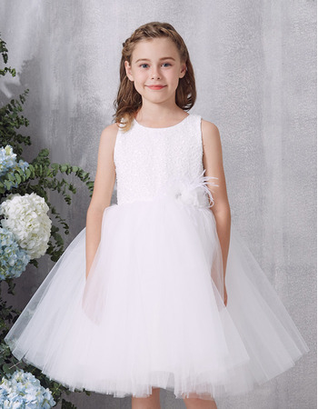 2019 New Style Ball Gown Knee Length Organza Flower Girl Dress