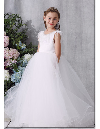 Custom Ball Gown Floor Length Organza Flower Girl / Communion Dress