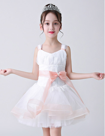 Affordable A-Line Straps Mini/ Short Flower Girl Dress with Sashes
