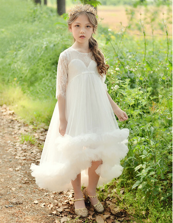 Adorable Empire High-Low Tulle Flower Girl Dress with Half Sleeves