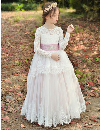 2019 New Style Ball Gown Flower Girl Dress with Long Lace Sleeves