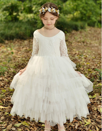 Custom Ankle Length Organza Flower Girl Dress with Long Lace Sleeves