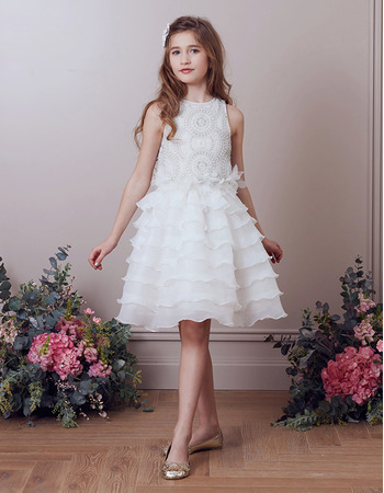 Stunning Knee Length Organza Layered Skirt Beading Flower Girl Dress
