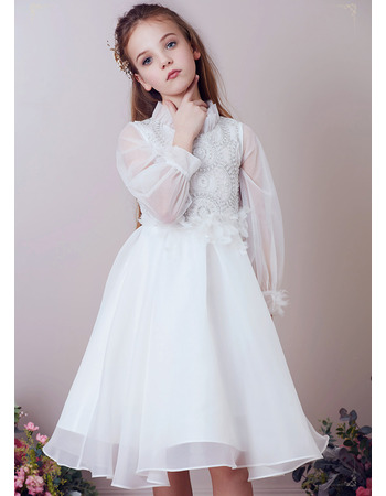 2019 Style Knee Length Organza Flower Girl Dress with Long Sleeves