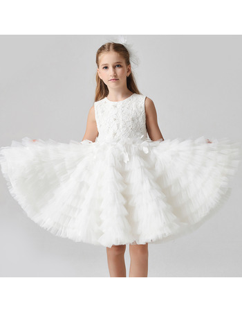 Custom Knee Length Lace Organza Pleated Skirt Flower Girl Dress