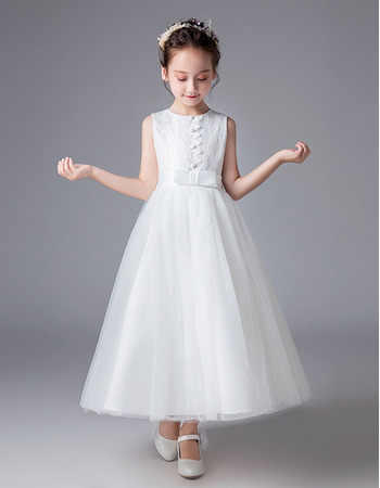 Adorable A-Line Ankle Length Flower Girl/ First Communion Dress