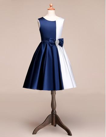 Custom A-Line Knee Length Satin Multi Color Flower Girl Dress