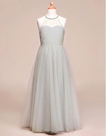 Affordable A-Line Floor Length Satin Tulle Flower Girl Dress