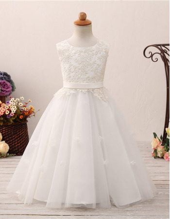 Adorable Ball Gown Floor Length Flower Girl/ First Communion Dress
