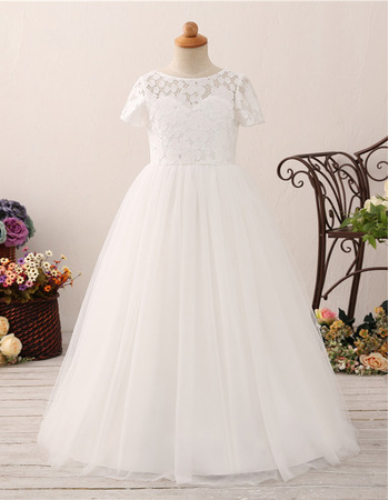 2019 Lace Flower Girl/ First Communion Dress with Short Sleeves