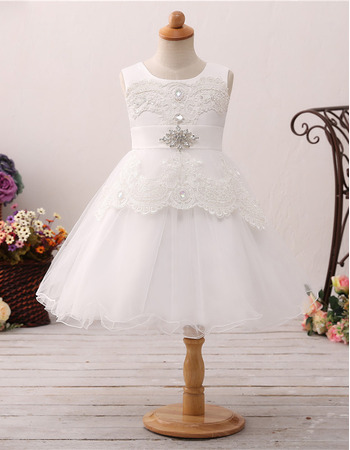Stunning A-Line Sleeveless Knee Length Organza Flower Girl Dress