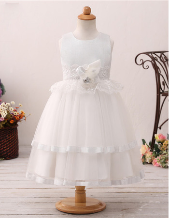 2019 New Style Ball Gown Tea Length Flower Girl Dress for Wedding
