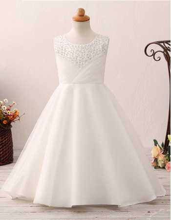 Custom A-Line Sweep Train Satin Flower Girl Dress for Wedding