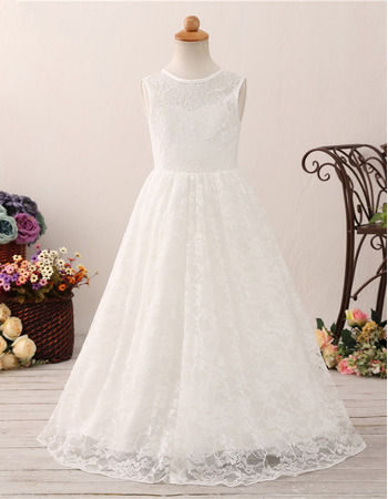 2019 Style A-Line Floor Length Lace Flower Girl Dress for Wedding
