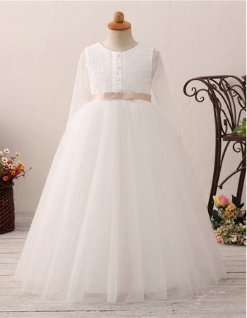 Affordable Ball Gown Flower Girl/ Communion Dress with Long Sleeves